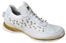 Mauri ITALY Stellar 8560 White Crocodile Skin Spiked Leather Casual Sneakers