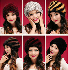 Queenfur Real Knit Mink Fur Hat Genuine Mink Fur Cap Winter Fashion Fur Beanie