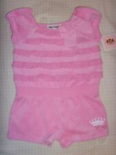 NEW Juicy Couture Infant/Baby Girl 1pc Terry Cloth Romper Shorts outfit 18-24M