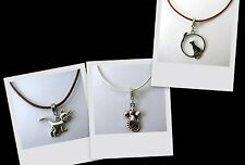 Grumpy Cat - Mouse OR Cat & Mouse ~45-50cm Leather Necklace ~Silver Tone Charms~