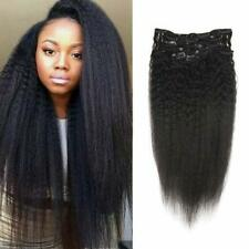 Curly/Deep Wavy Clip in 100%Real REMY Human Hair Extensions Natural Black 120g