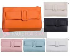 LADIES NEW FAUX LEATHER FRONT BUCKLE DETAIL ZIP CLOSURE CLUTCH HAND BAG