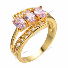 4*6mm CZ Pink Sapphire Women's 10kT Yellow Gold Filled Engagement Ring Size 6-9