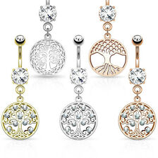 1pc Tree of Life Dangle w/Round CZ Pierced Belly Navel Naval Ring