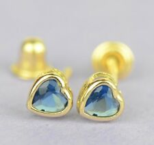 14K Solid Yellow Gold Heart Stud Earrings Birthstone