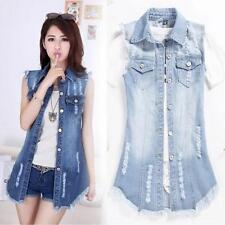 Women Lady Punk Frayed Denim Jean Long Vest Waistcoat Slim Sleeveless Jacket NEW