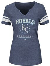 Kansas City Royals MLB Majestic Womens Distressed Cut Neck Shirt Plus Sizes