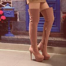 Womens Slouch Side Zip Platform Stiletto High Heel Over the Knee Boots Shoes Hot