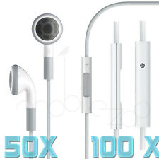 Lot 3.5mm Earphone Headset With Remote Mic for Apple iPhone 5 4 White Wholesale