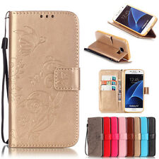 New Embossed Floral Card Holder Leather Wallet TPU Case Stand Cover For Samsung