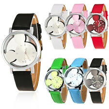 Mickey Mouse Children Cartoon Hollow Leather Dress Quartz Wrist Watch Gift