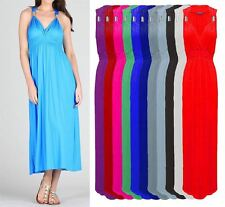LADIES NEW GRECIAN STYLE SLEEVELESS SUMMER SPRING COIL MAXI DRESS 13 COLOURS