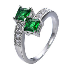 5MM Green Emerald Zircon Band Women's Gift 10Kt White Gold Filled Ring Size 6-10