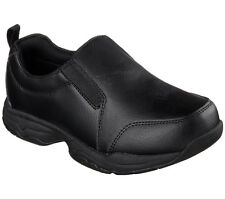 Skechers Women's Relaxed Fit Felton Calpet SR Leather Slip On Work Shoes Black