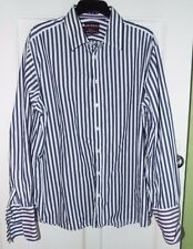 M&S Sartorial Shirt Timothy Everest 18 Navy & White Stripe Double Cuff Cotton