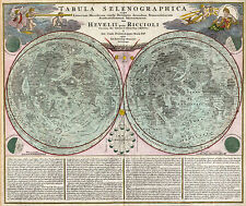 Poster - Vintage Style Double Hemisphere Moon Map (Picture Print Space Art)