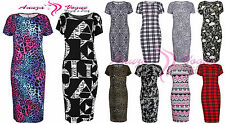 NEW WOMENS PLUS SIZE SHORT SLEEVE LEOPARD TARTAN PAISLEY LOVE PARIS MIDI DRESS