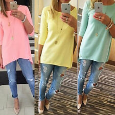 2016 New Womens Stylish Celeb Sexy Casual Long Tops Summer Blouse Loose T shirts