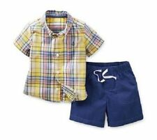 New Boys Carters Yellow & Blue Plaid Shirt & Short Set Outfit 9 Months 12 Months