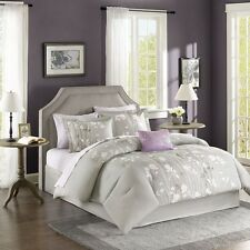 Luxury Grey & Light Purple Comforter Bedding Set Pillows AND Matching Sheet Set