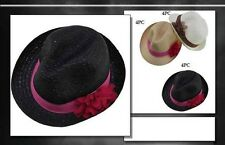 Fedora Trilby Hats For Women - With Flower Bows Assorted Colors   (FedHat46 ^*)