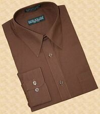 Daniel Ellissa Chocolate Brown Men's Dress Shirt Polo Casual Long Sleeve Fashion