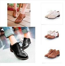 Women Brogues Vintage Oxford Lace Up Preppy Flat Wing Tip Low Kitten Heel Shoes
