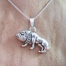 Bulldog Large 2D Silver-Plated Pendant Charm and Necklace- Free Shipping