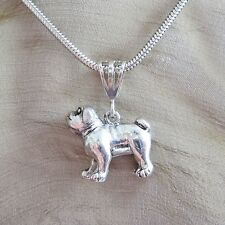 Bulldog Large Pewter Pendant Charm and Necklace- Free Shipping