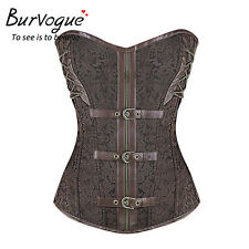 Women Gothic Steel Bone Zipper Steampunk Corset Overbust Corset Bustier Top