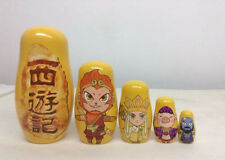 New 5 Pcs Beautiful Handmade Wooden Russia Nesting Dolls Journey to the West