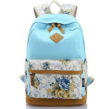 Canvas Leather Satchel Rucksack Backpacks School Bags for Girls Female Printing