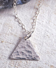 STERLING SILVER 925 HAMMERED TRIANGLE CHARM CHAIN NECKLACE