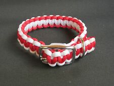 Red & White Adjustable Dbl. Bar Buckle Paracord Dog Collar - 6 Sizes