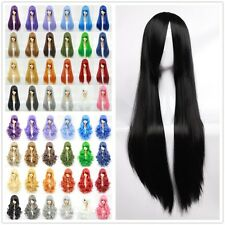 Local Ship Cosplay Wigs Full Head Wigs Curly Wave Straight Black White Purple RE