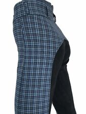Ladies Blue Breeches, Womens Checked Jodhpurs,Full Seat Suede. Sizes 8-18
