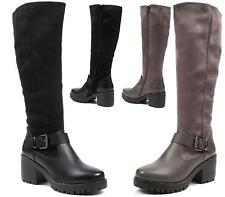 WOMENS ZIP HIGH BLOCK CHUNKY HEEL PLATFORM OVER THE KNEE BOOTS SIZE