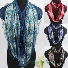 Women Fashion Pearls Floral Mesh Trim 2Layer Soft Infinity Loop Cowl Lady Scarf