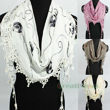 Fashion Women's Cotton Lace Line Triangle Scarf Shawl Floral Lace Trim Tassel