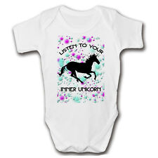Listen To Your Inner UNICORN Funny Baby Grow | Cute Newborn 2 Years Baby Vests