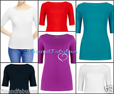 NEW Ex Chainstore  S/Sleeve T Shirt Top Size 8 - 24 White Blue Jade Purple Red