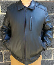 Mens Tommy Hilfiger Genuine Leather Bomber Style Jacket Black Large Lamb Skin