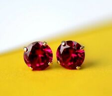 14K Solid Yellow Gold 5mm Round Birthstone Stud Earrings with Push Back