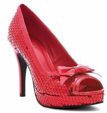 Ellie Shoes Sexy High Heel Red Sequins Peep-Toe Pump with Bow 420-DOROTHY/RED