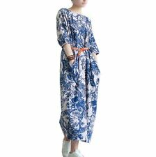 SUMMER DRESS WOMEN LOOSE CASUAL LINEN COTTON SUNDRESS FLORAL VINTAGE STYLE PARTY