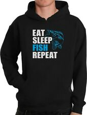 Gift for Fisherman Eat Sleep Fish Repeat Fishing Hoodie Funny