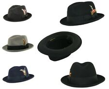 Unisex Crushable C-Crown 100% Wool Felt Trilby Hat with Removable Feather