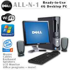 DELL DESKTOP COMPUTER GX280 WINDOWS 7 4GB INTEL P4 500GB 2.8GHZ DVDRW W/ MONITOR