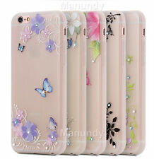 Cute Diamond Luminous Printed Flower Butterfly Bling Gel Case Cover For Iphone 6