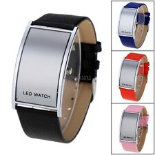 LED Digital Date Watch Leather Strap Stainless Steel Lady Men Wristwatches CO99